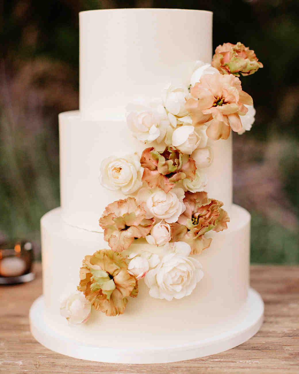 simple wedding cake with floral details
