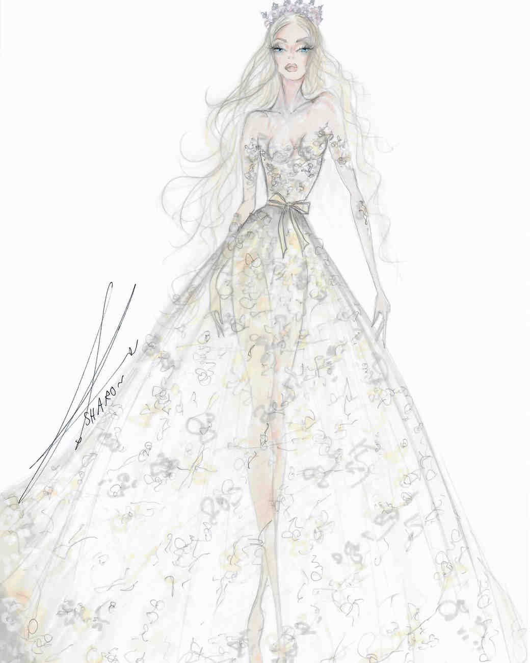 galia lahav wedding dress sketch