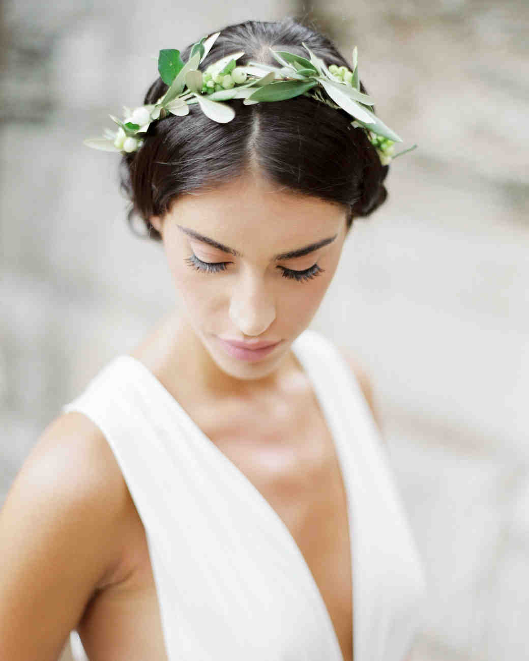 The New Flower Crown: Greenery Crowns | Martha Stewart Weddings