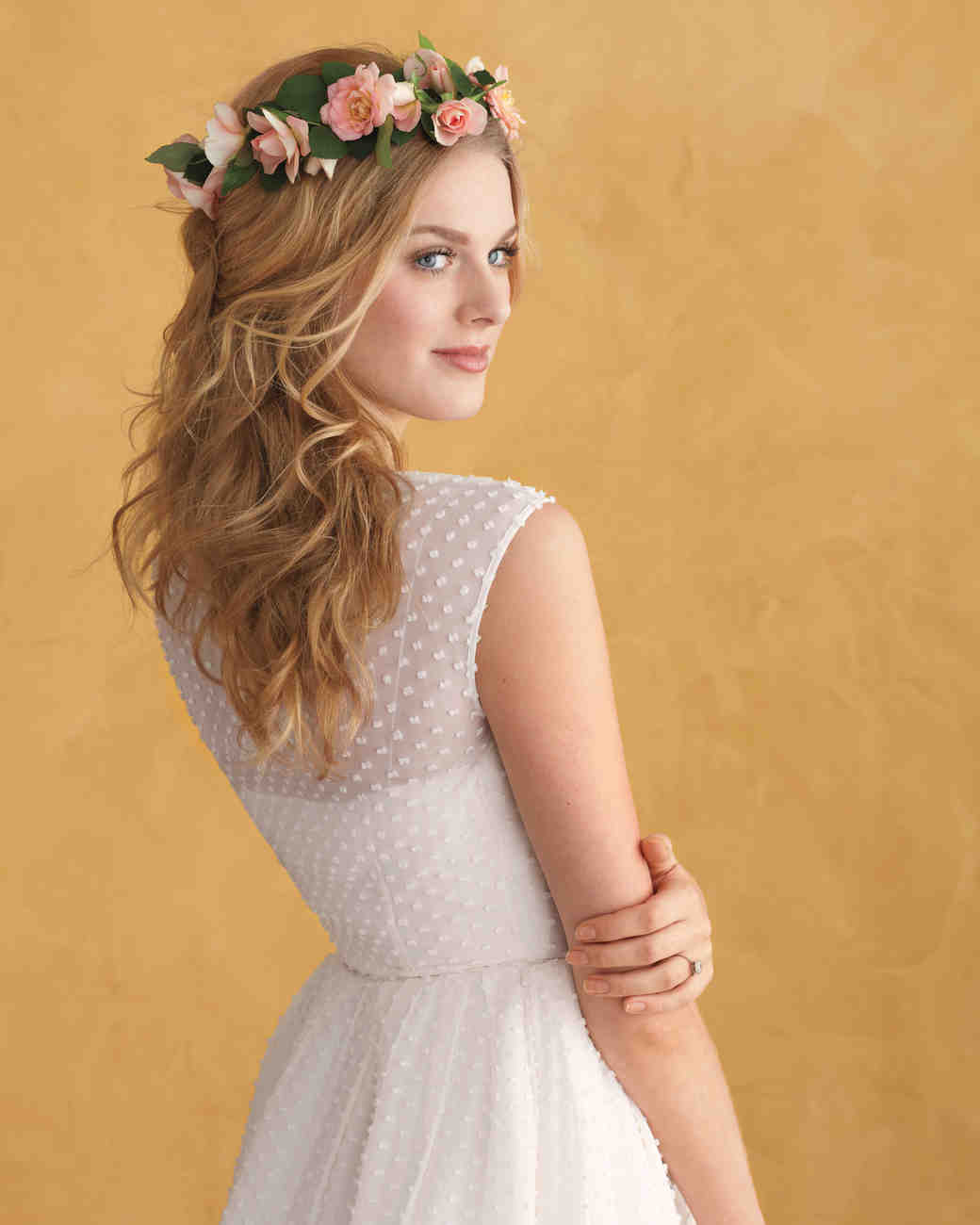 floral wedding hairstyles | martha stewart weddings
