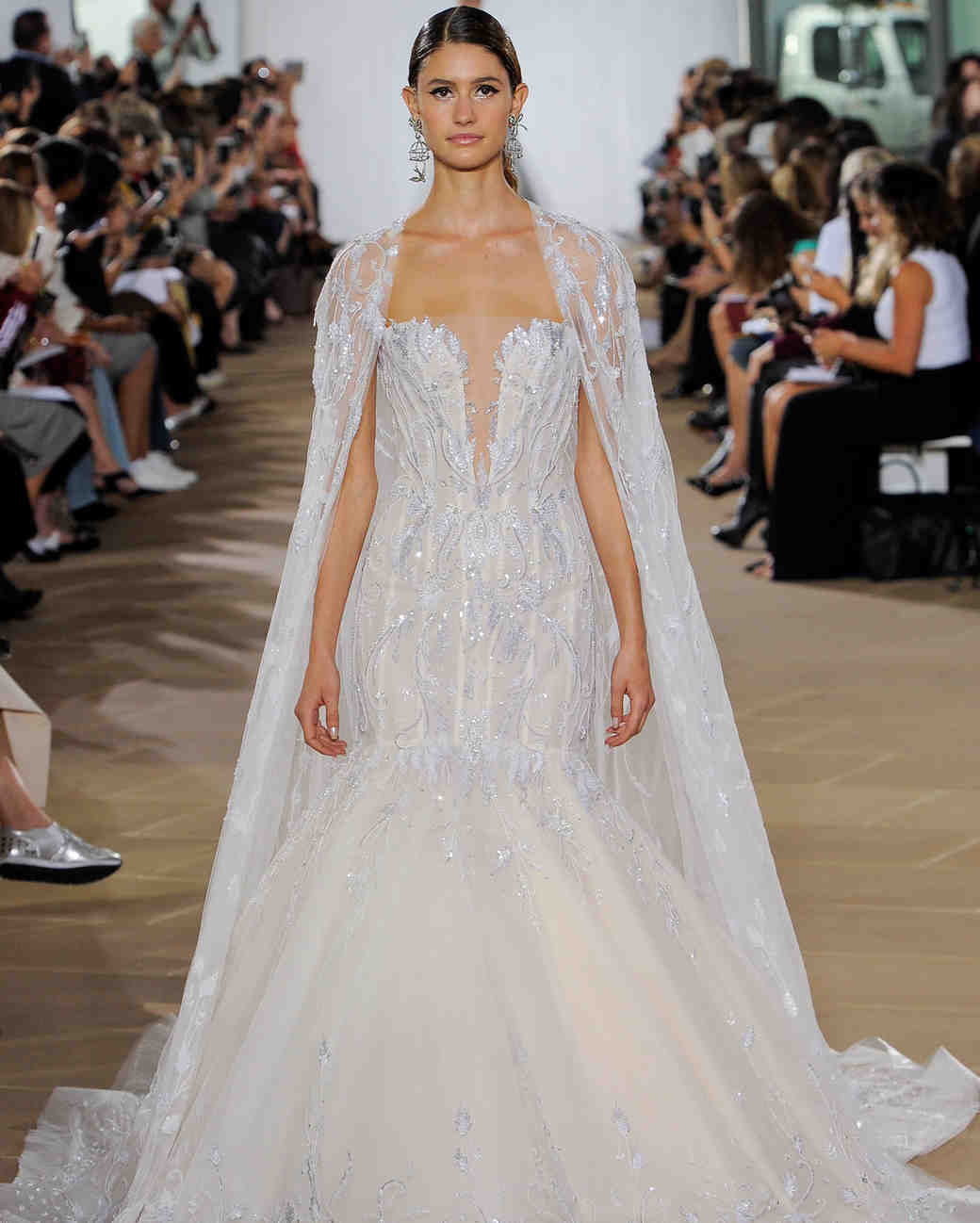 ines di santo fall 2019 beaded strapless trumpet with sheer beaded cape