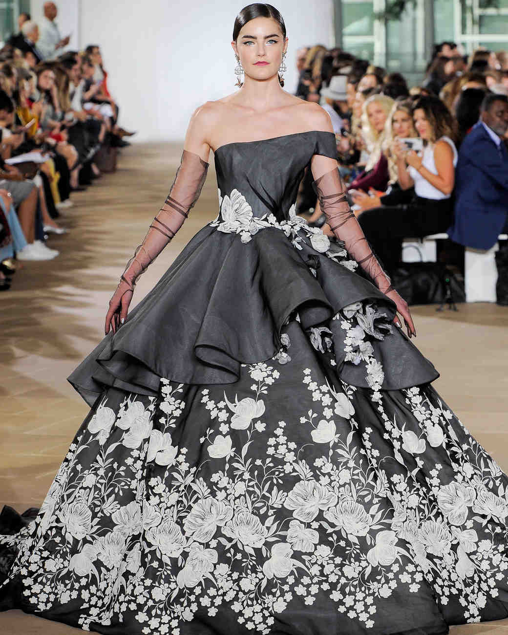 Regret, long black and white wedding dresses