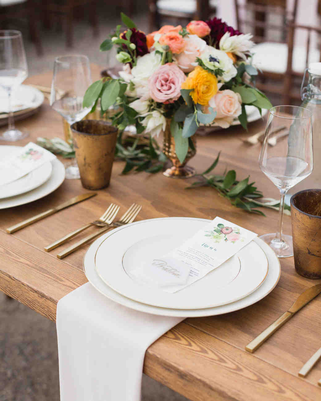 california indian jewish wedding reception placesetting