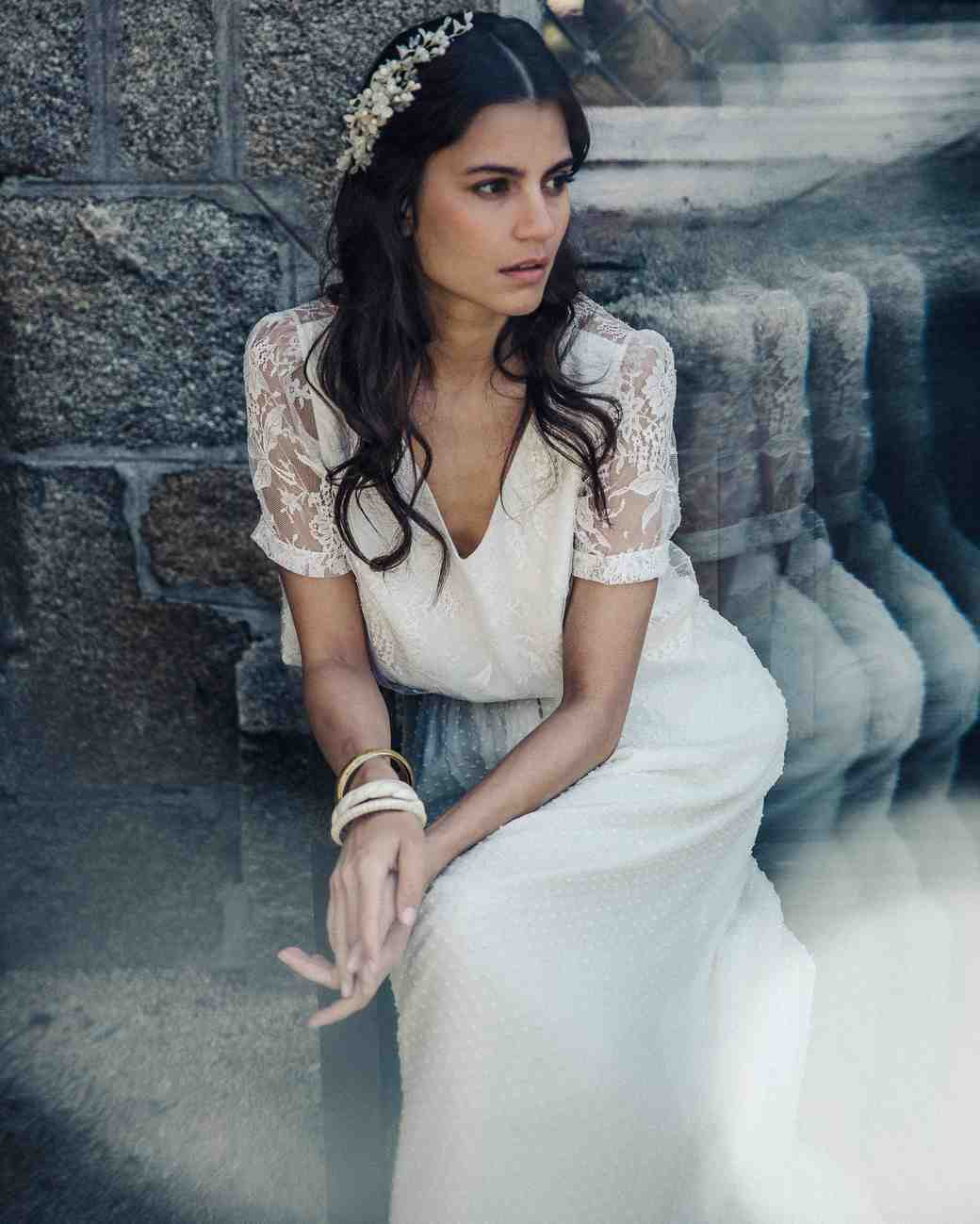 laure de sagazan lace sleeve spring 2018 wedding dress