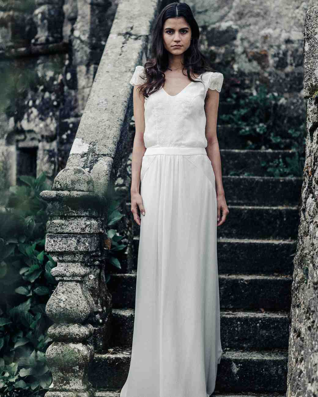 laure de sagazan cap sleeve spring 2018 wedding dress
