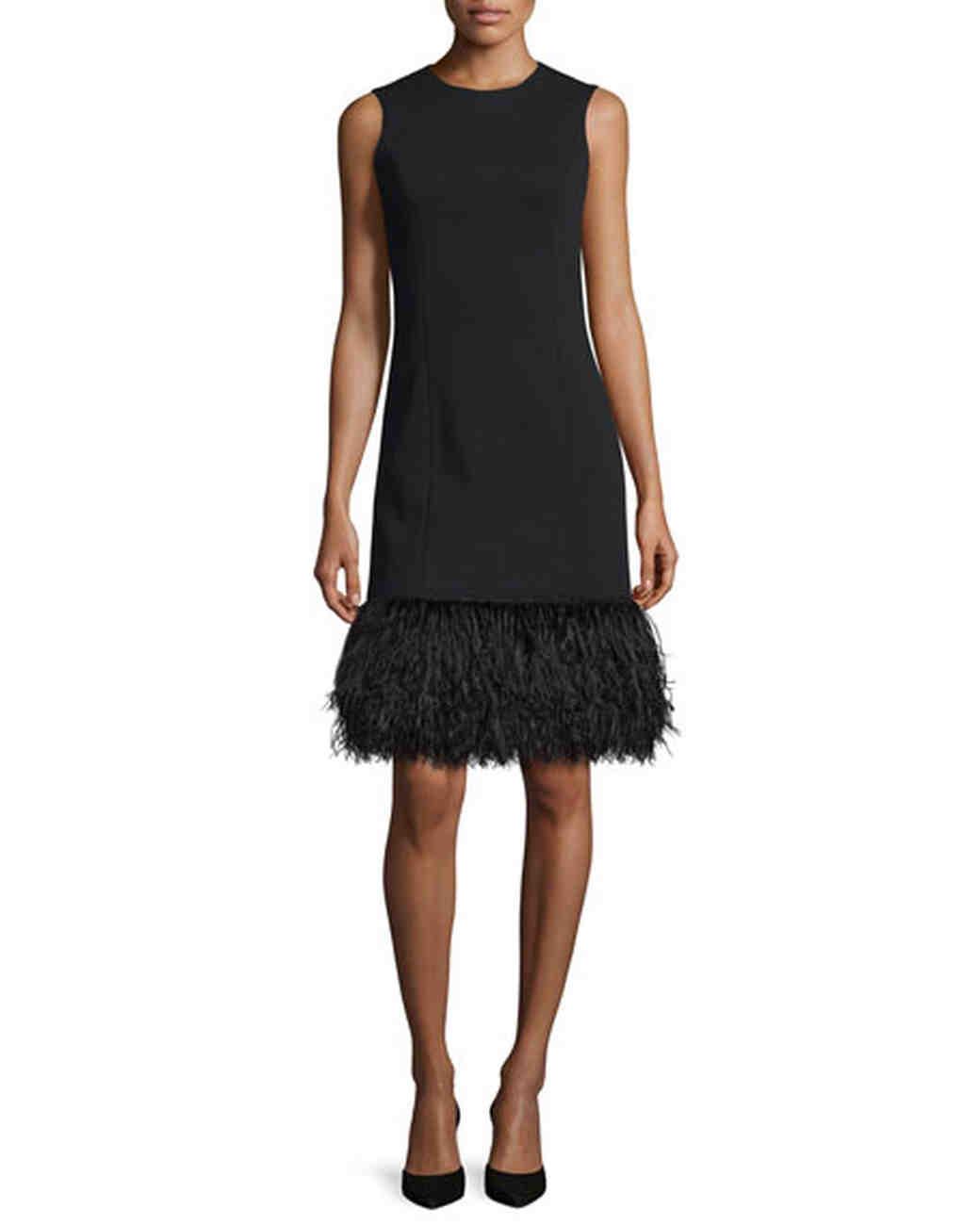Black Feather Hem Dress