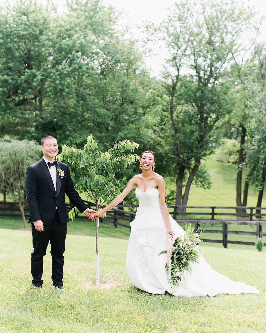 pillar paul wedding couple with small tree