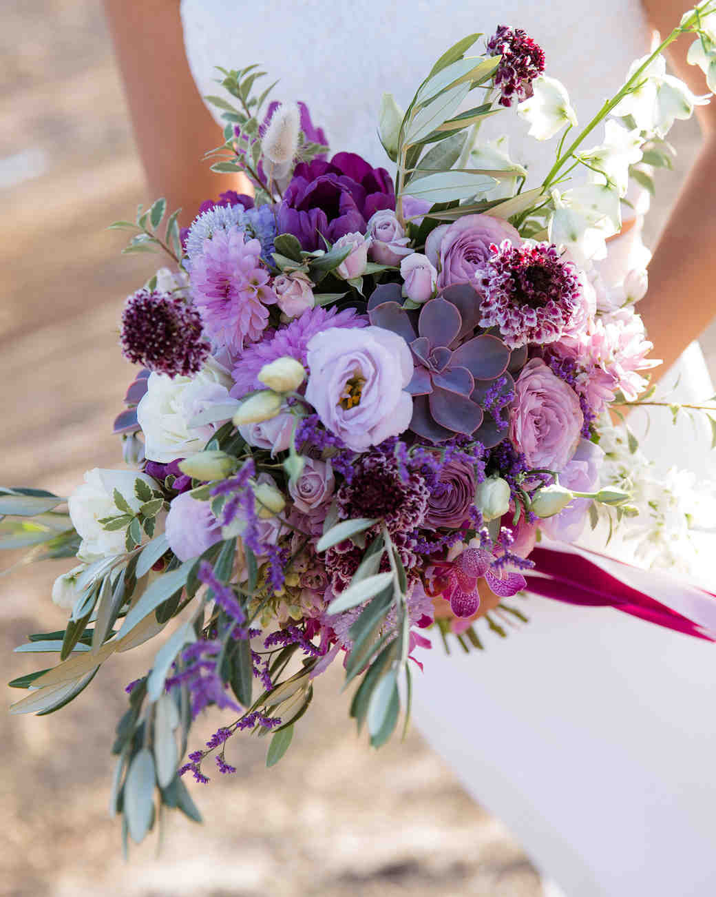 bouquet with purple garden roses and succulent