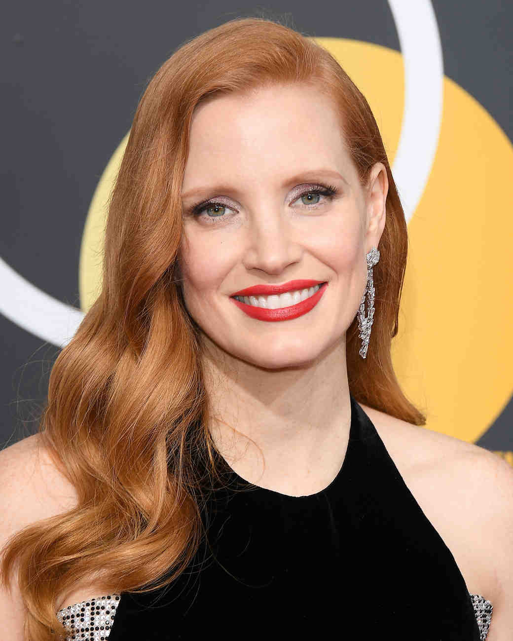jessica chastain makeup 2018 golden globes