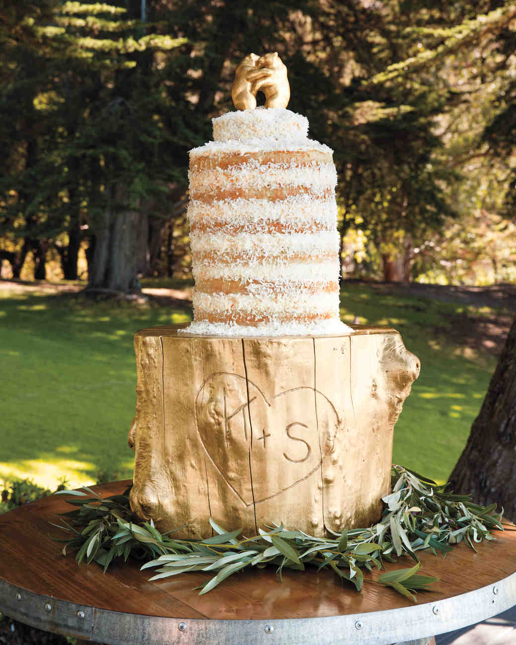 Naked Coconut Cake with Dancing Bear and Gold Leaf Toppers