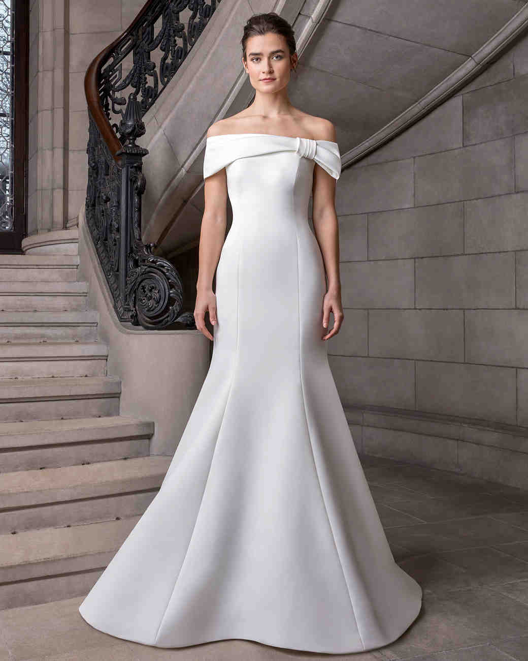 sareh nouri off the shoulder sheath wedding dress spring 2020