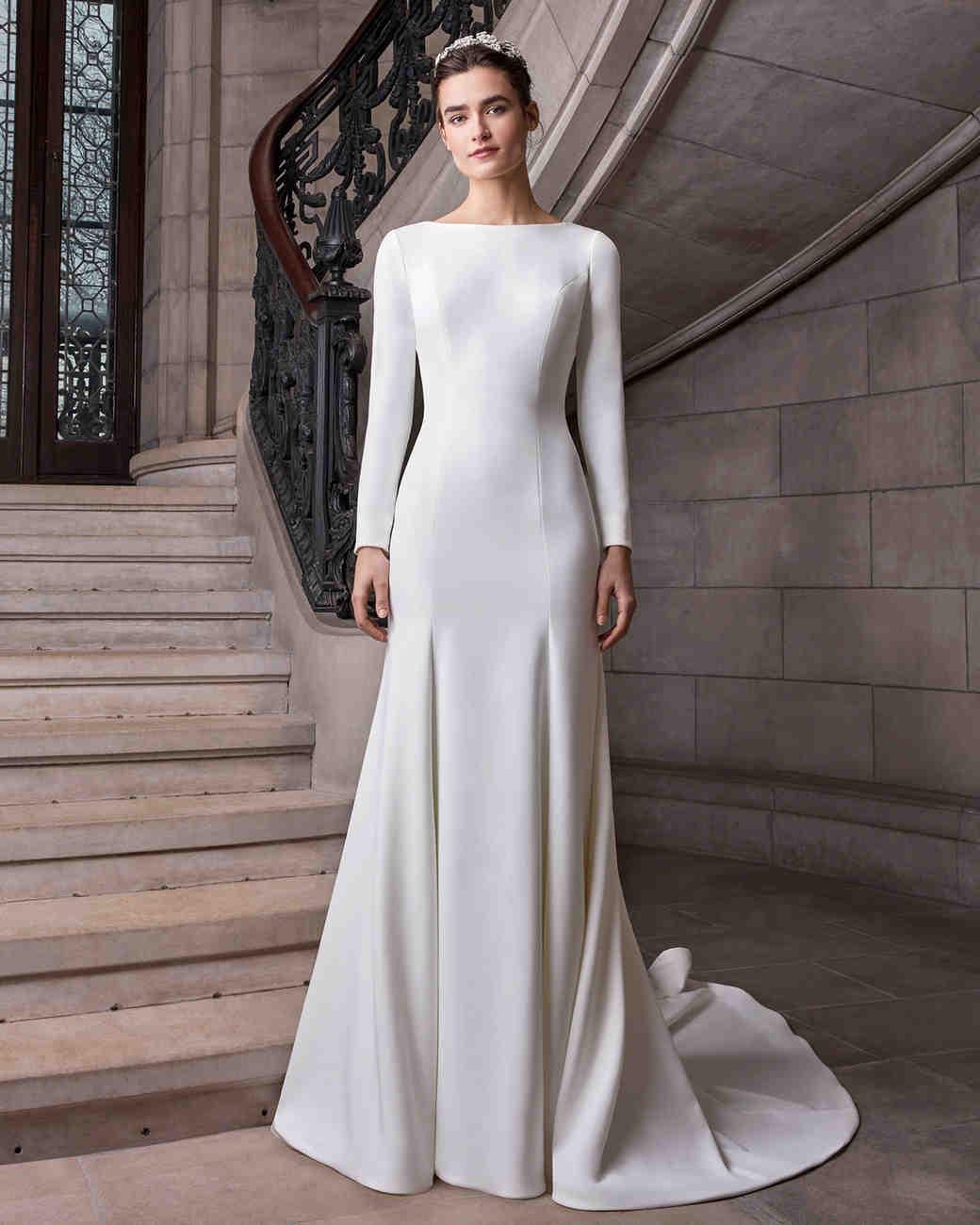 sareh nouri long sleeve high neck wedding dress spring 2020
