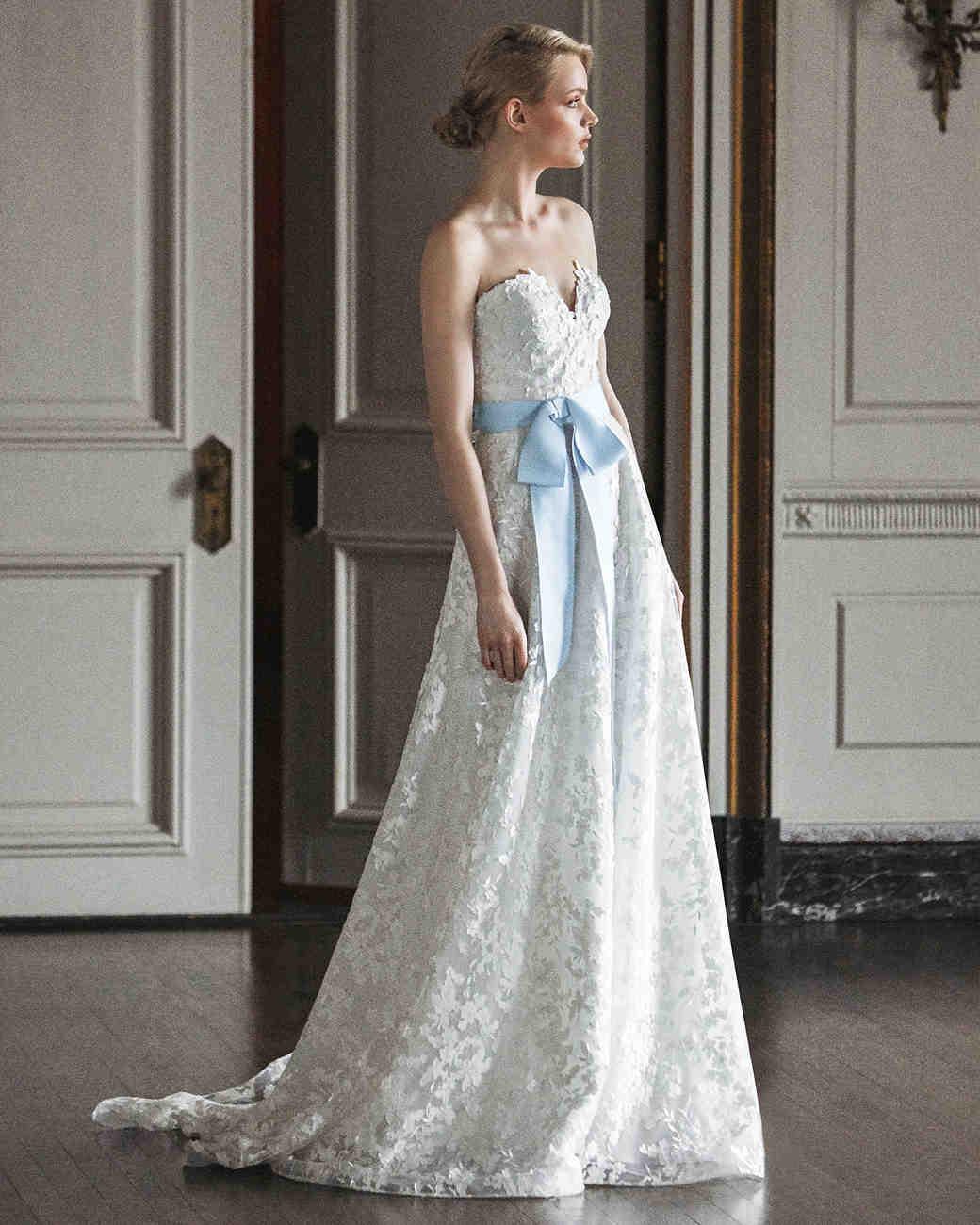 sareh nouri strapless blue bow wedding dress spring 2020