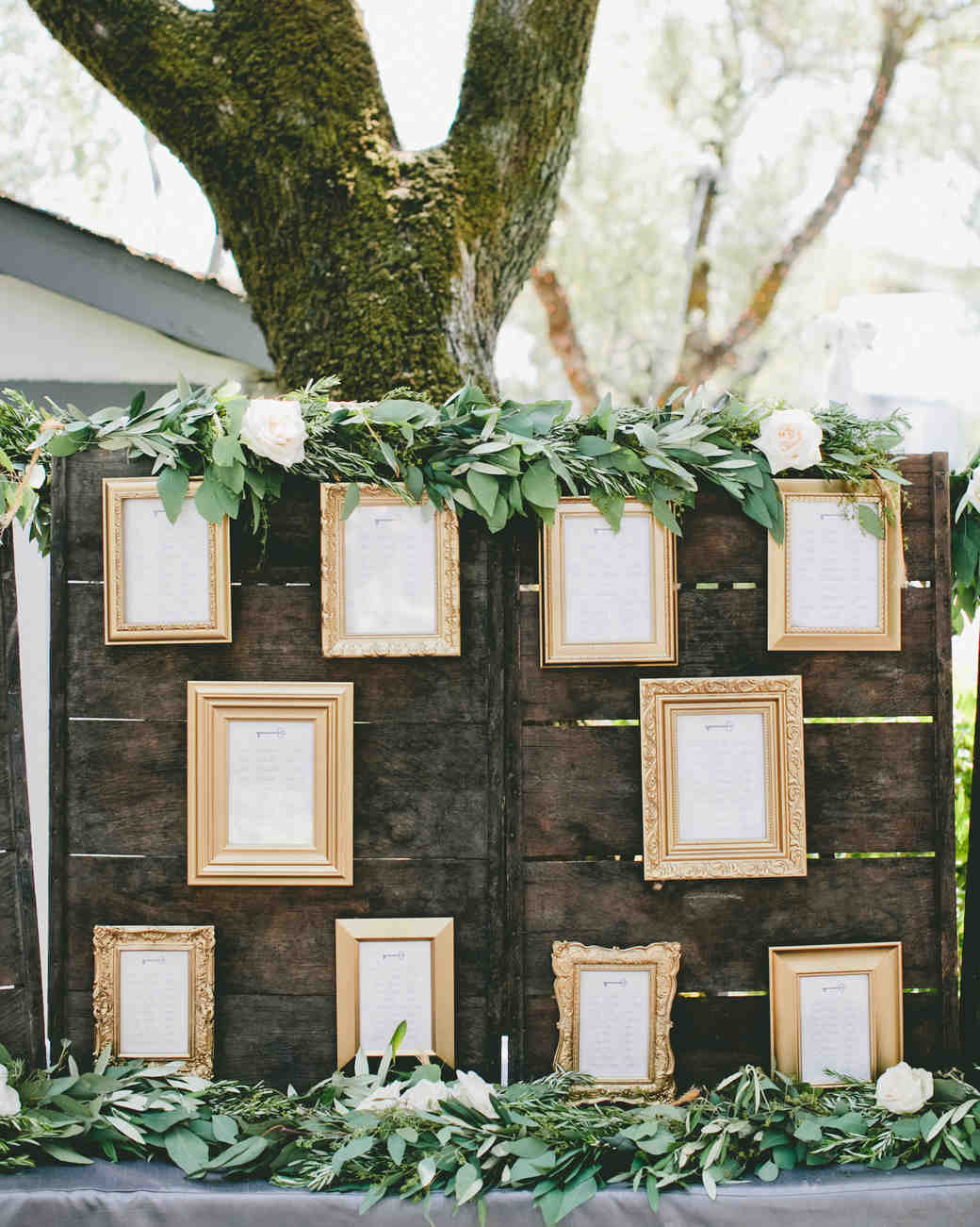 Elegant and rustic gold frame seating chart