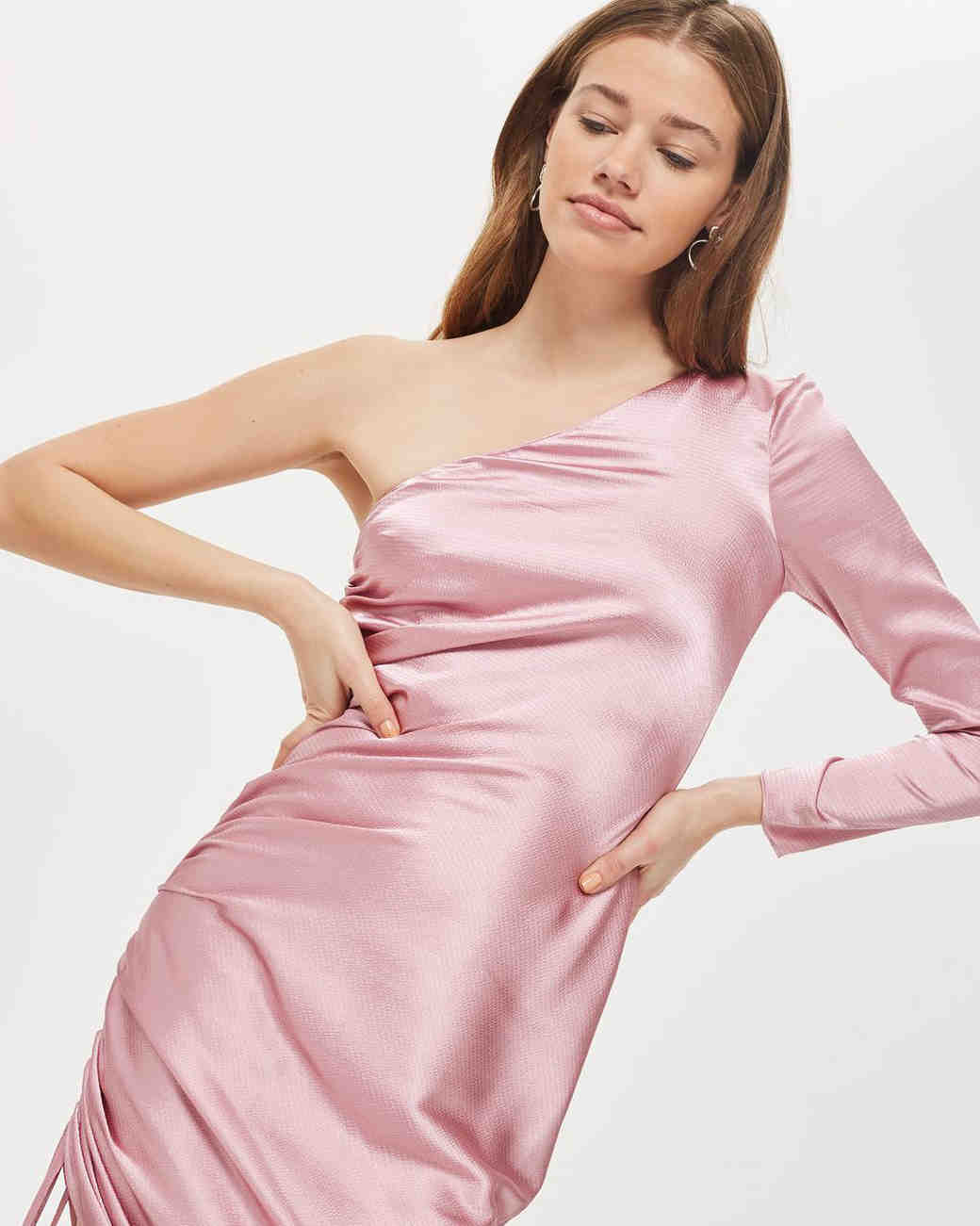 pink one sleeve silk gown