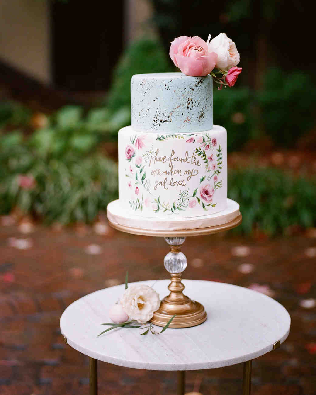 Beautiful Small Wedding Cake With Quote
