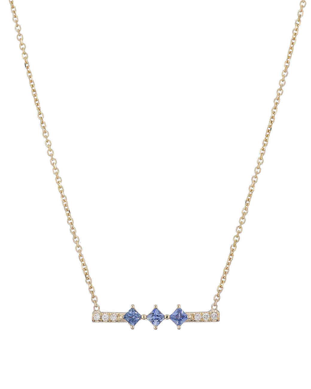 blue and diamond bar pendant necklace