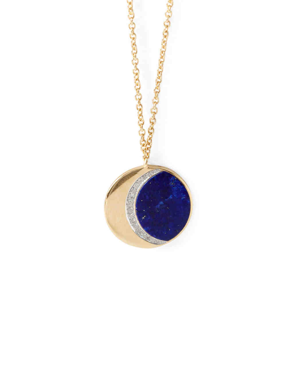 gold blue half moon pendant necklace