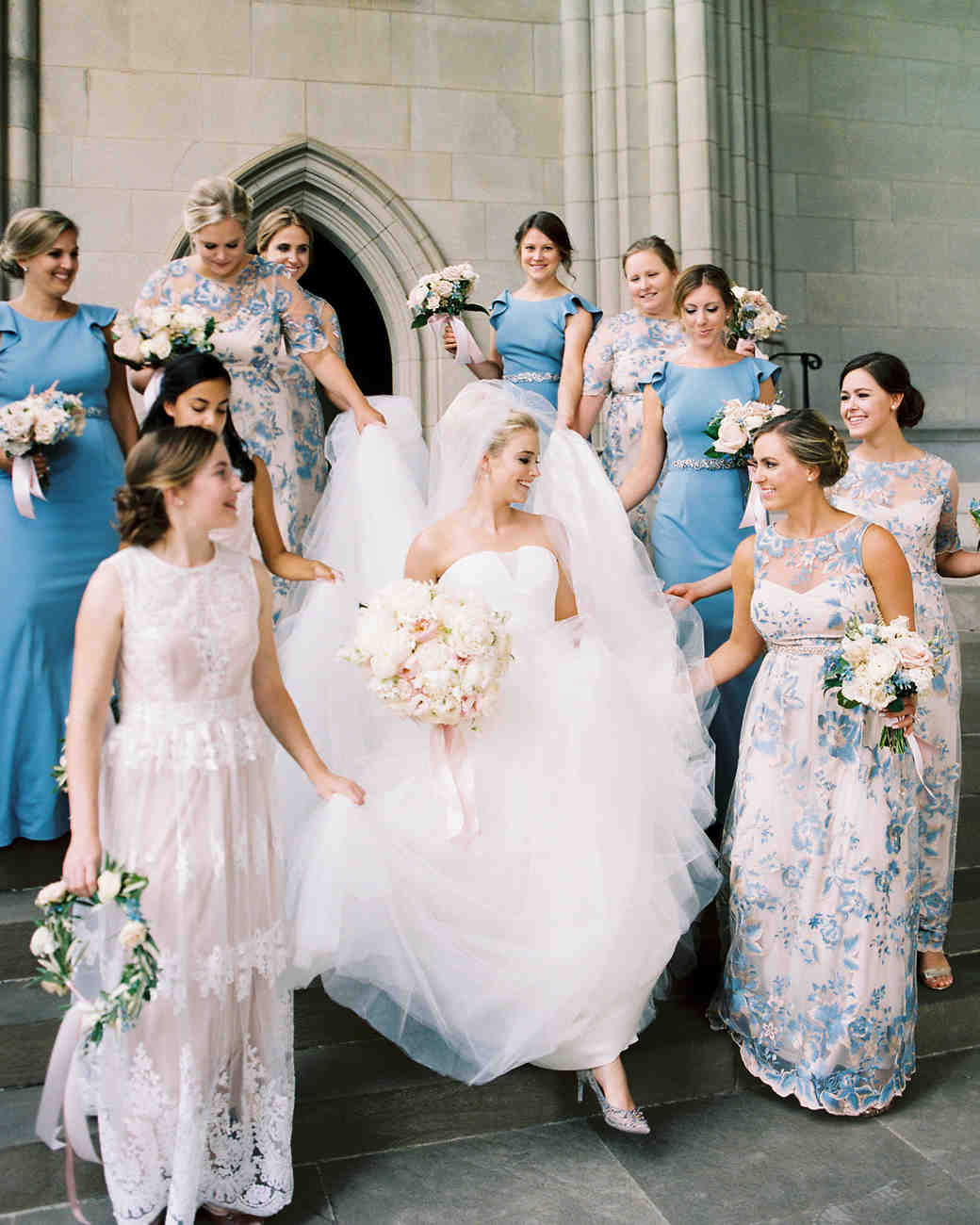 bride with junior bridesmaids and bridesmaids bridal party