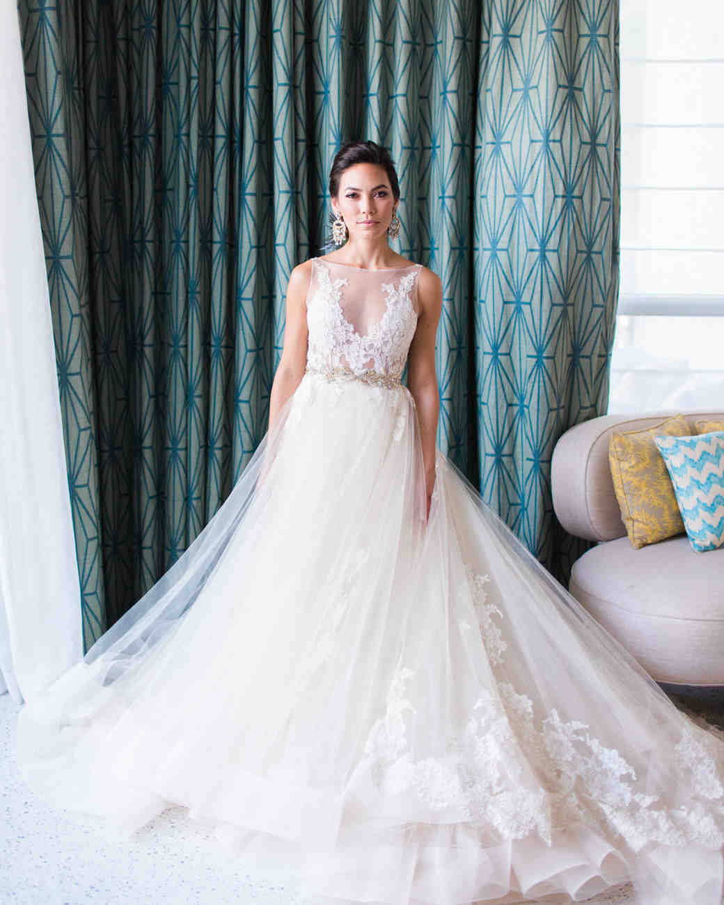lace and tulle long train champagne wedding dress
