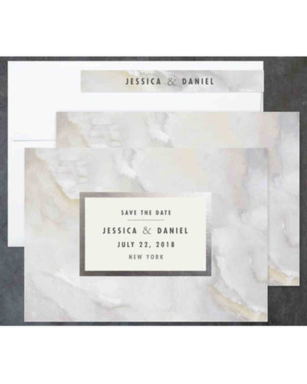 save the dates minted marble
