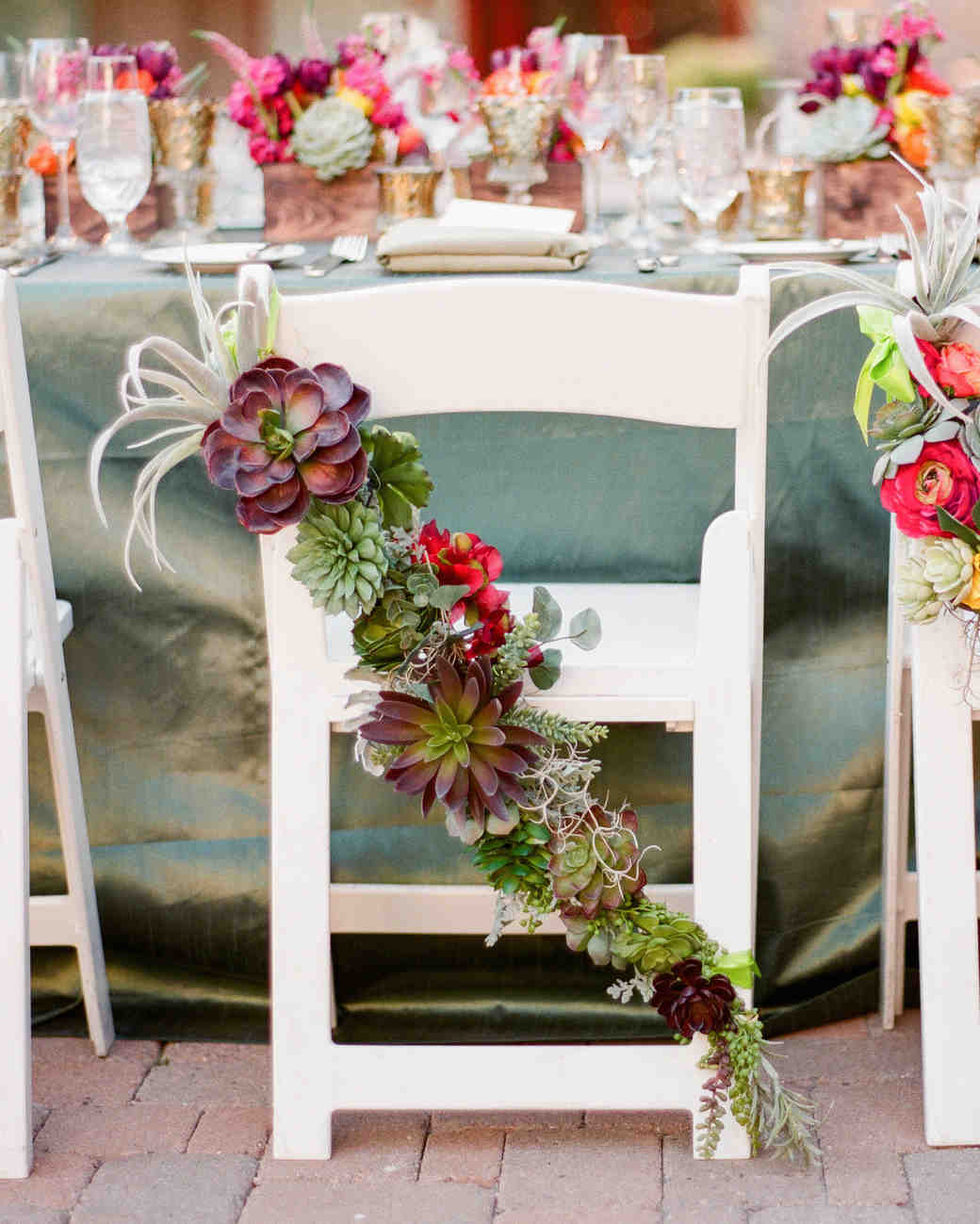 36 ideas for using succulents at your wedding martha stewart weddings succulent chair decorations izmirmasajfo