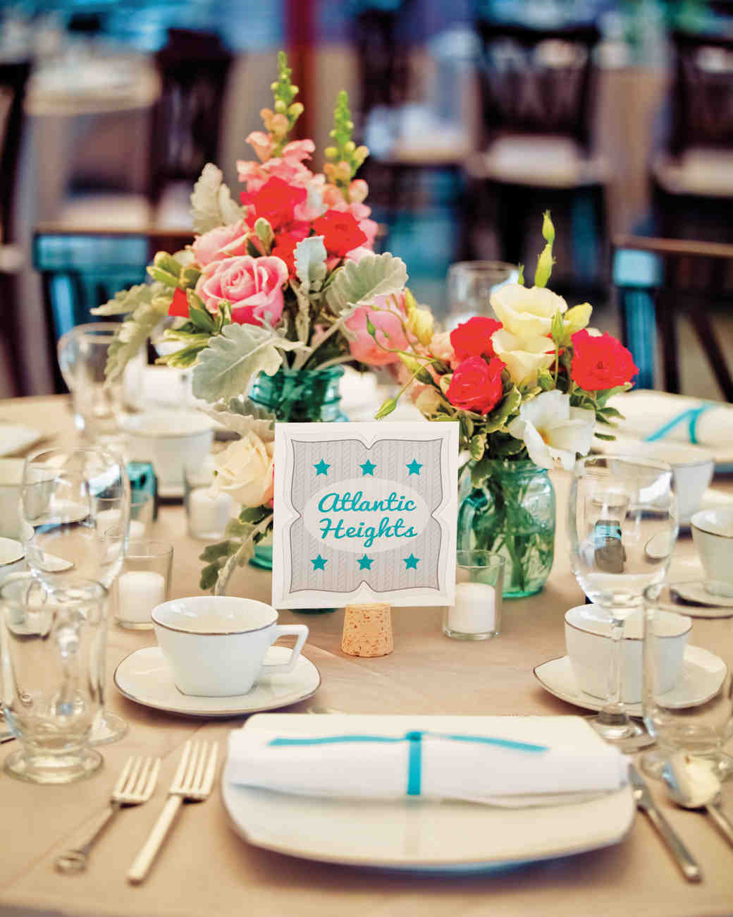 A Whimsical, Vintage Teal-and-Pink Wedding In New
