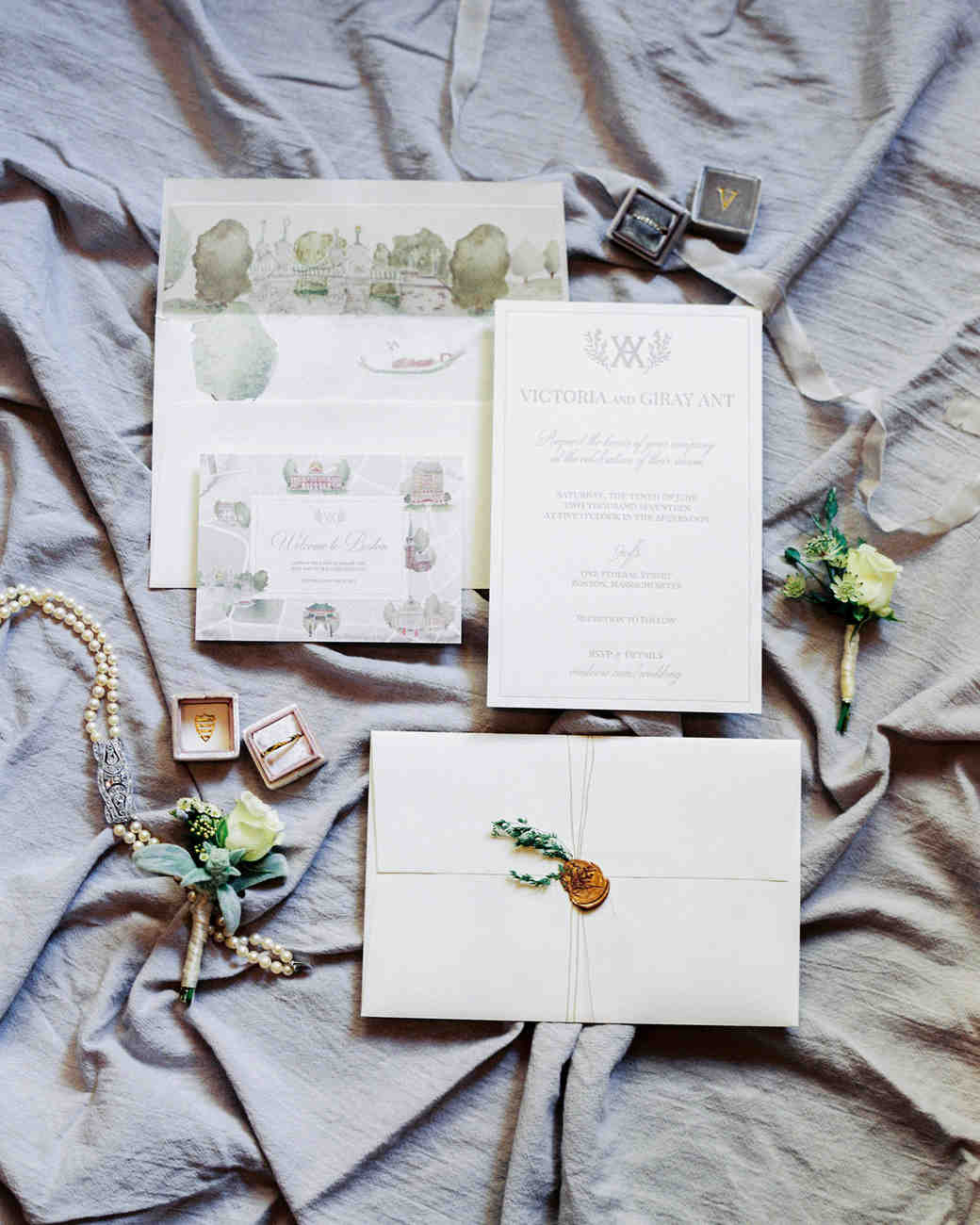 vintage invite with illustrations and bronze wax seal