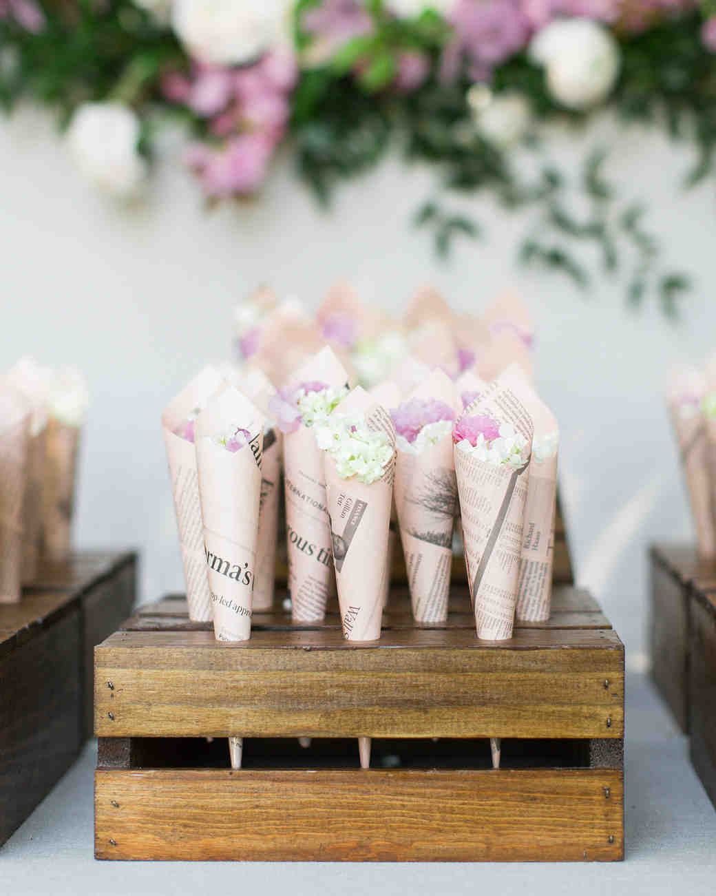 Wedding Petal Bar, Vintage Paper Cones