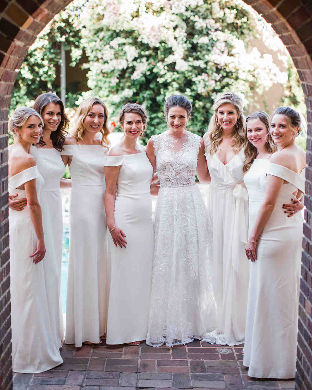 26 Chic Bridal Parties Wearing All White Dresses Martha Weddings