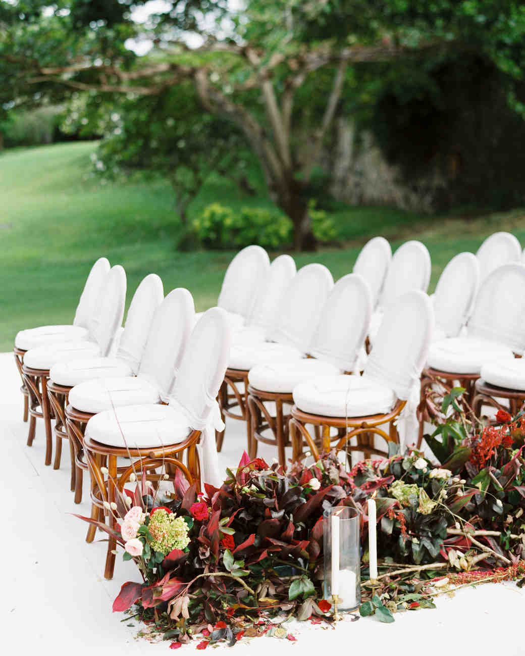 white ceremony aisle with floral installation