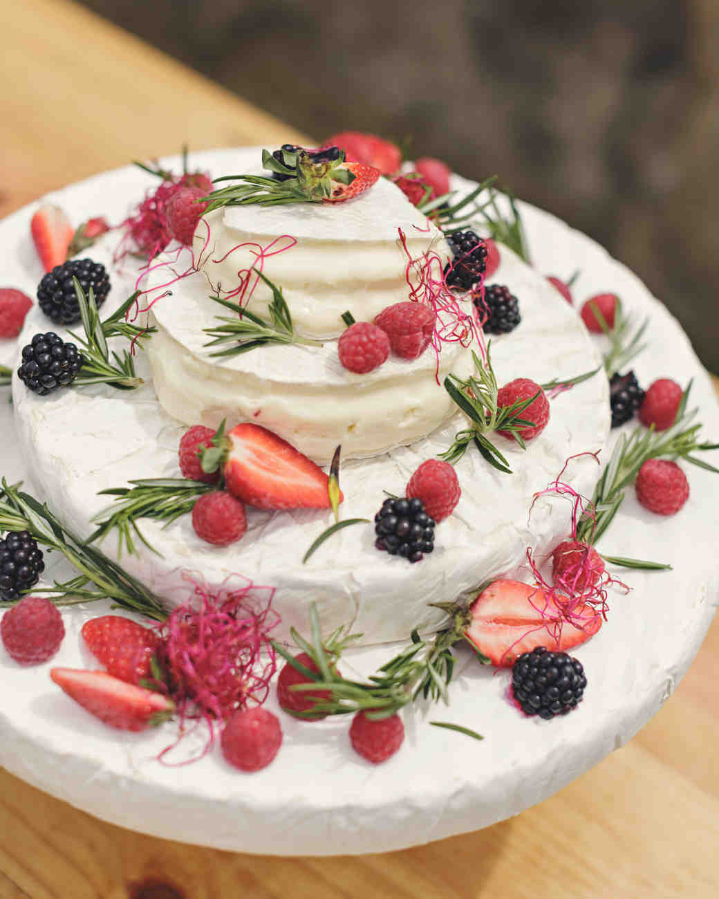 "Stacked Cheese ""Cake"" with Berries and Herbs"