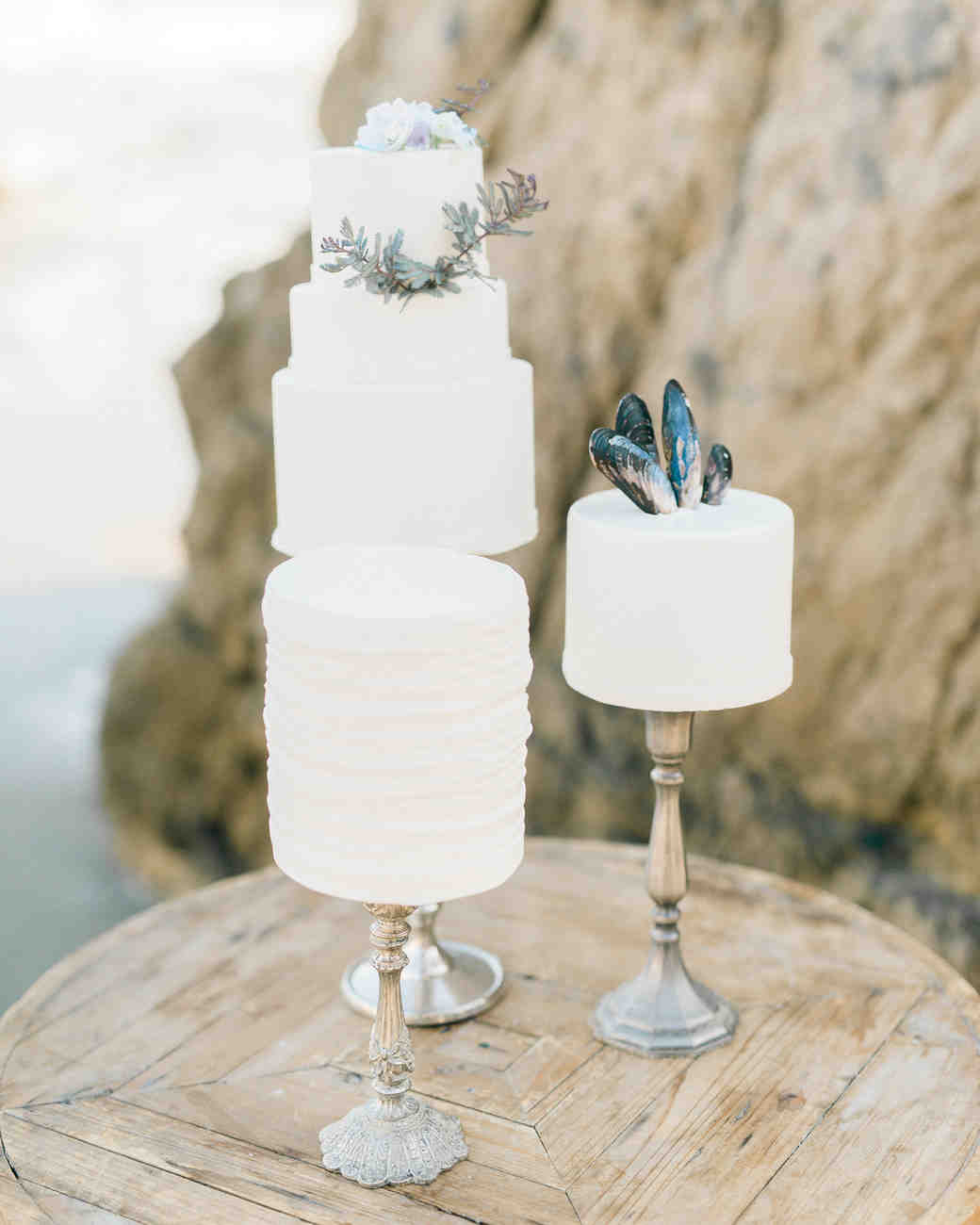 Trio of Wedding Cakes Decorated with Shells