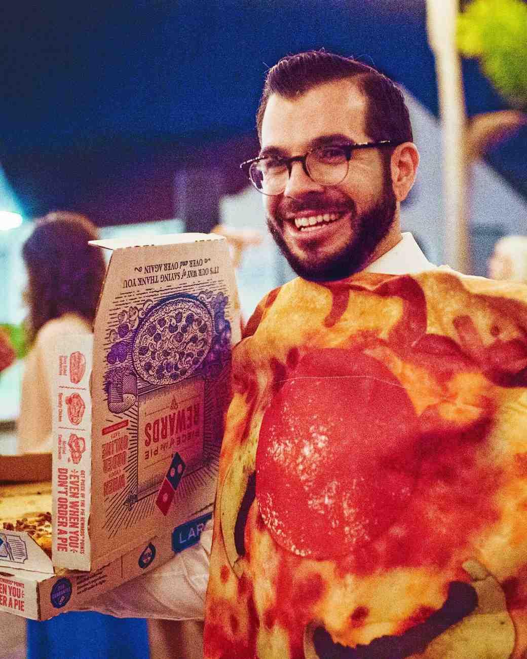 becca zac wedding pizza