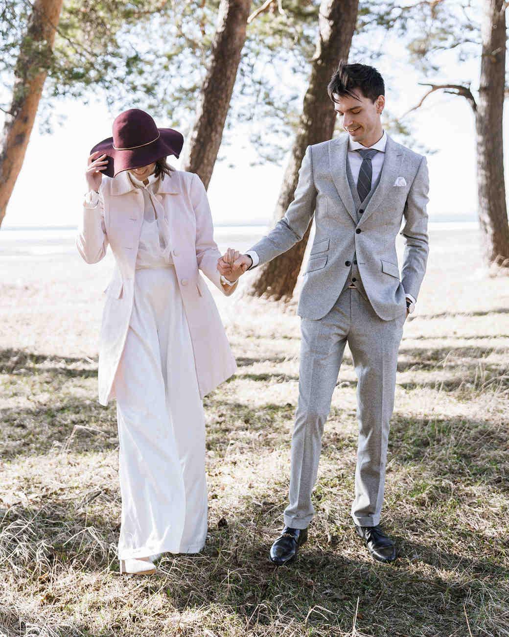 bride wearing burgundy hat