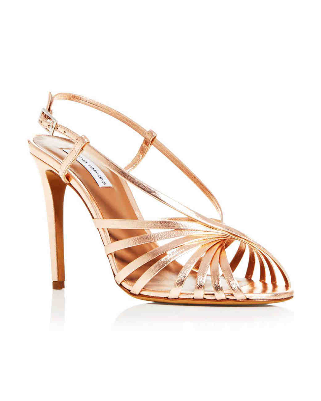 metallic leather sling-back sandals bridesmaid shoes