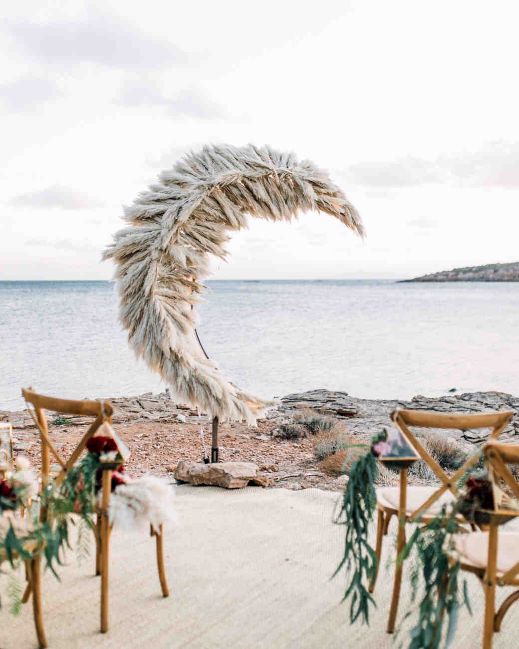 crescent moon wedding backdrop pampas grass waterfront