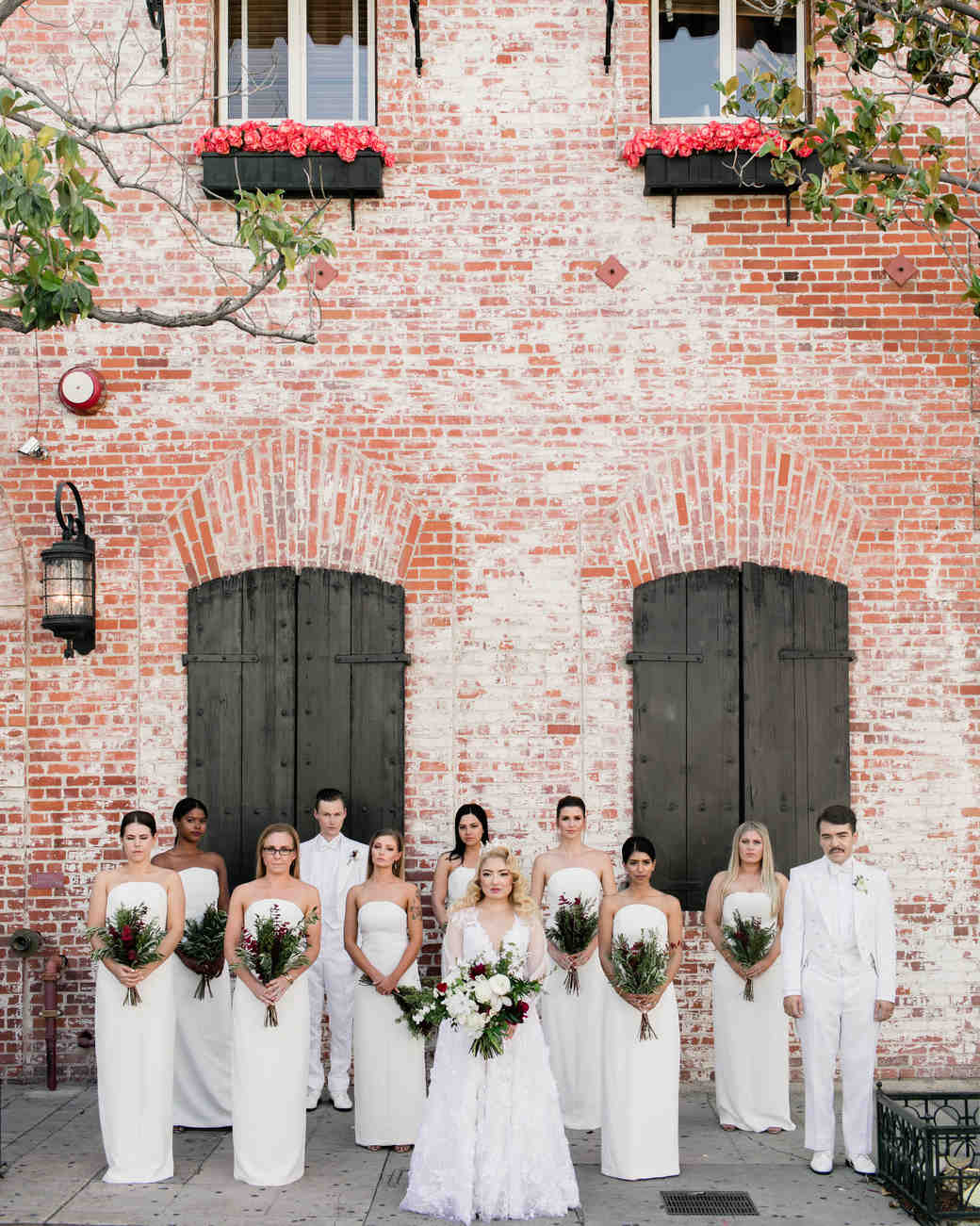 chic bridesmaids simple column white attire