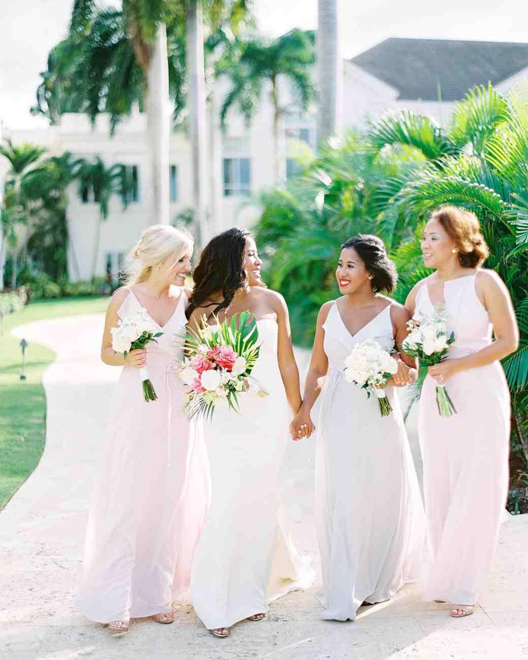 bride and bridesmaids walking