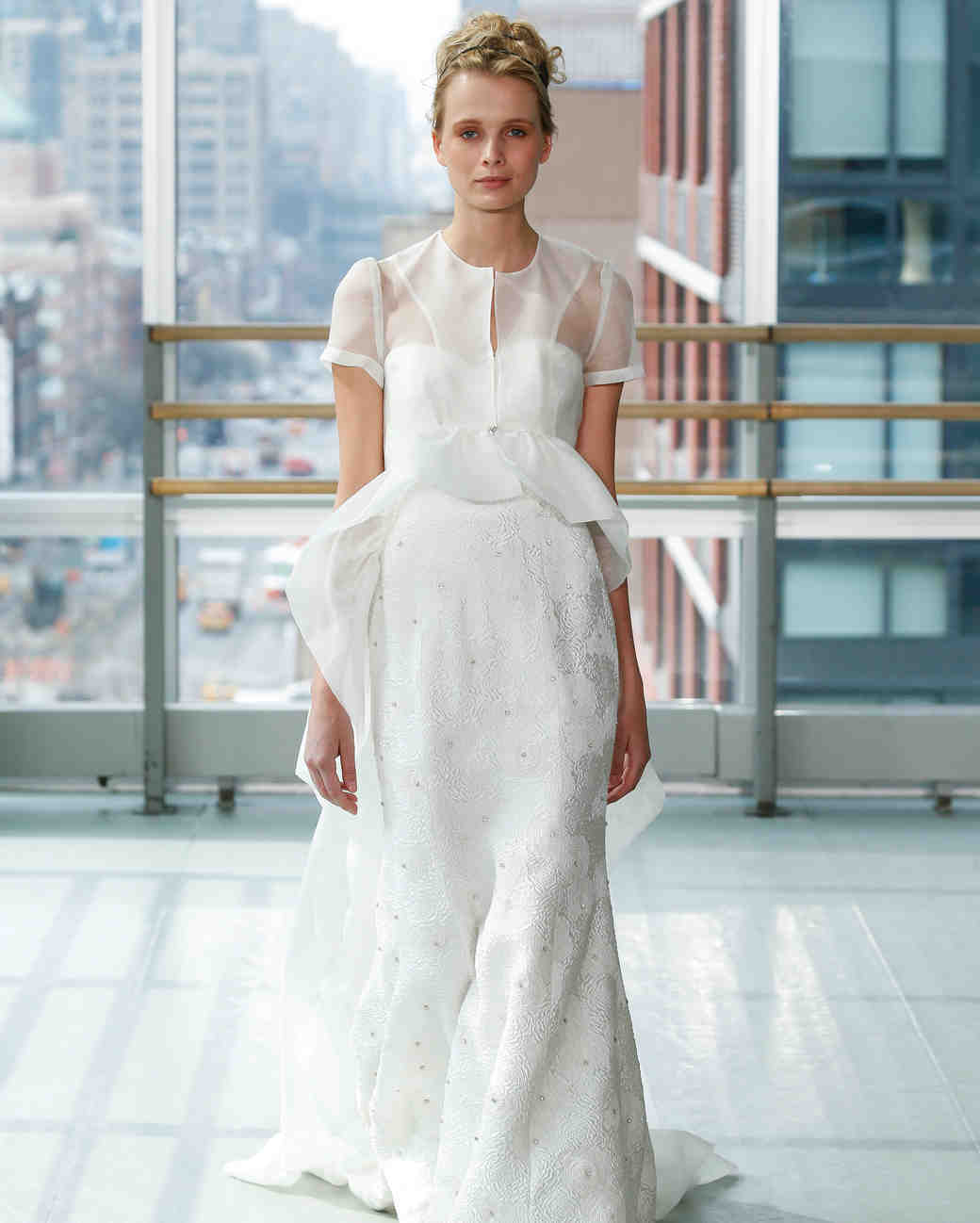 gracy accad wedding dress spring 2019 short sleeves sheer jacket a-line