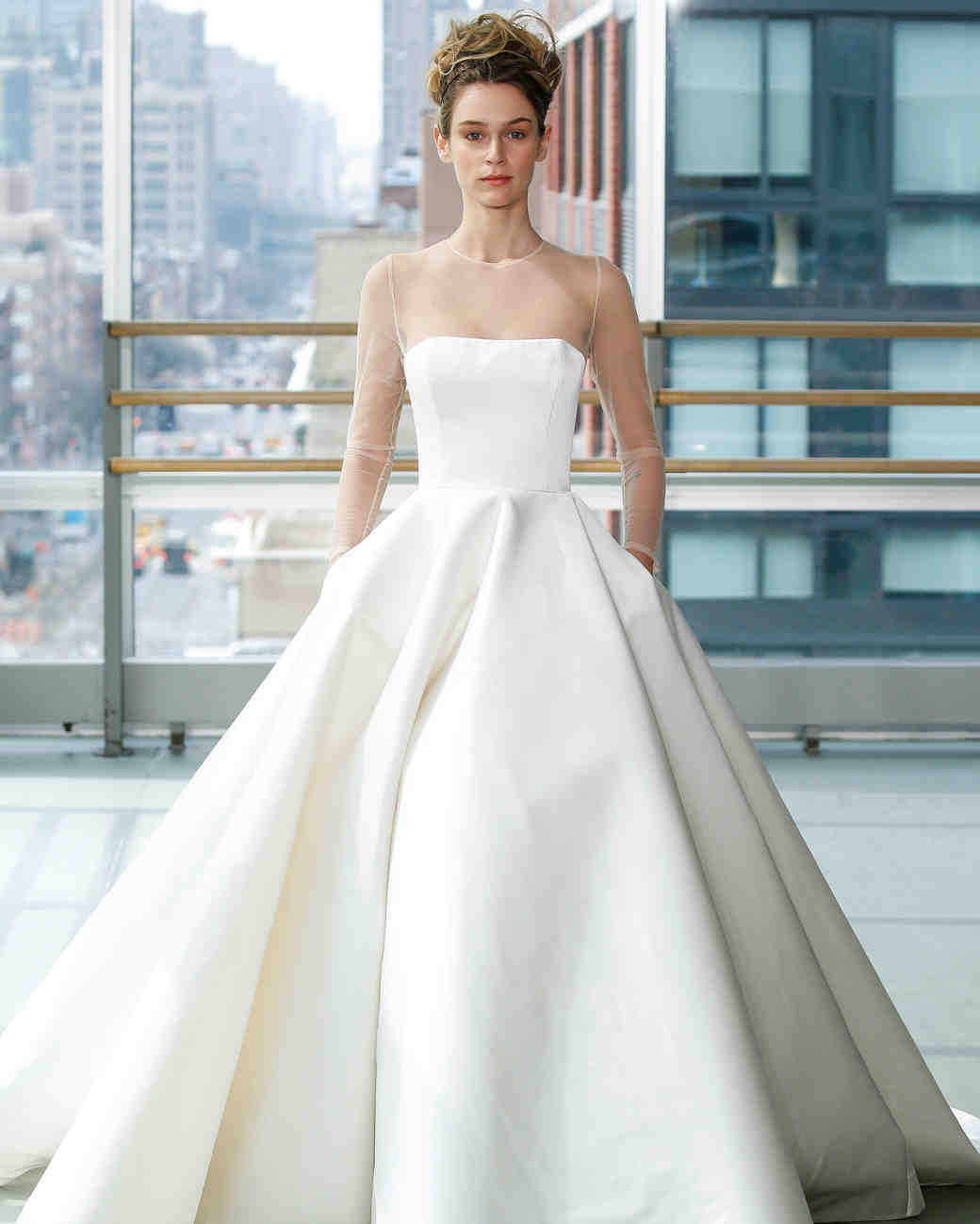 gracy accad wedding dress spring 2019 ball gown illusion long sleeves