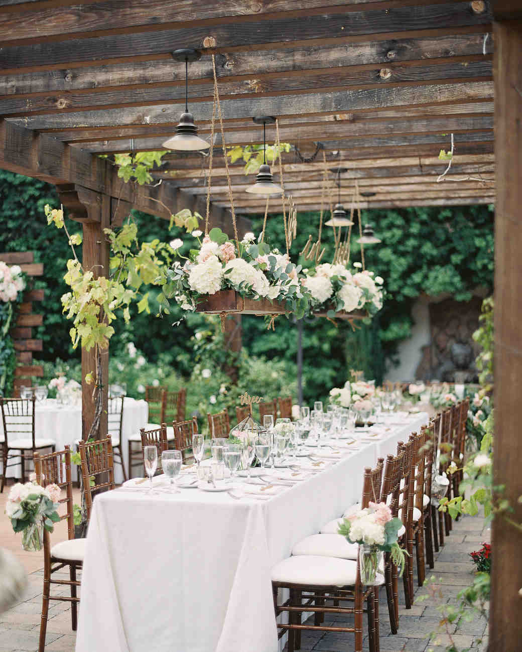 head table wedding pergola hanging wood box flowers