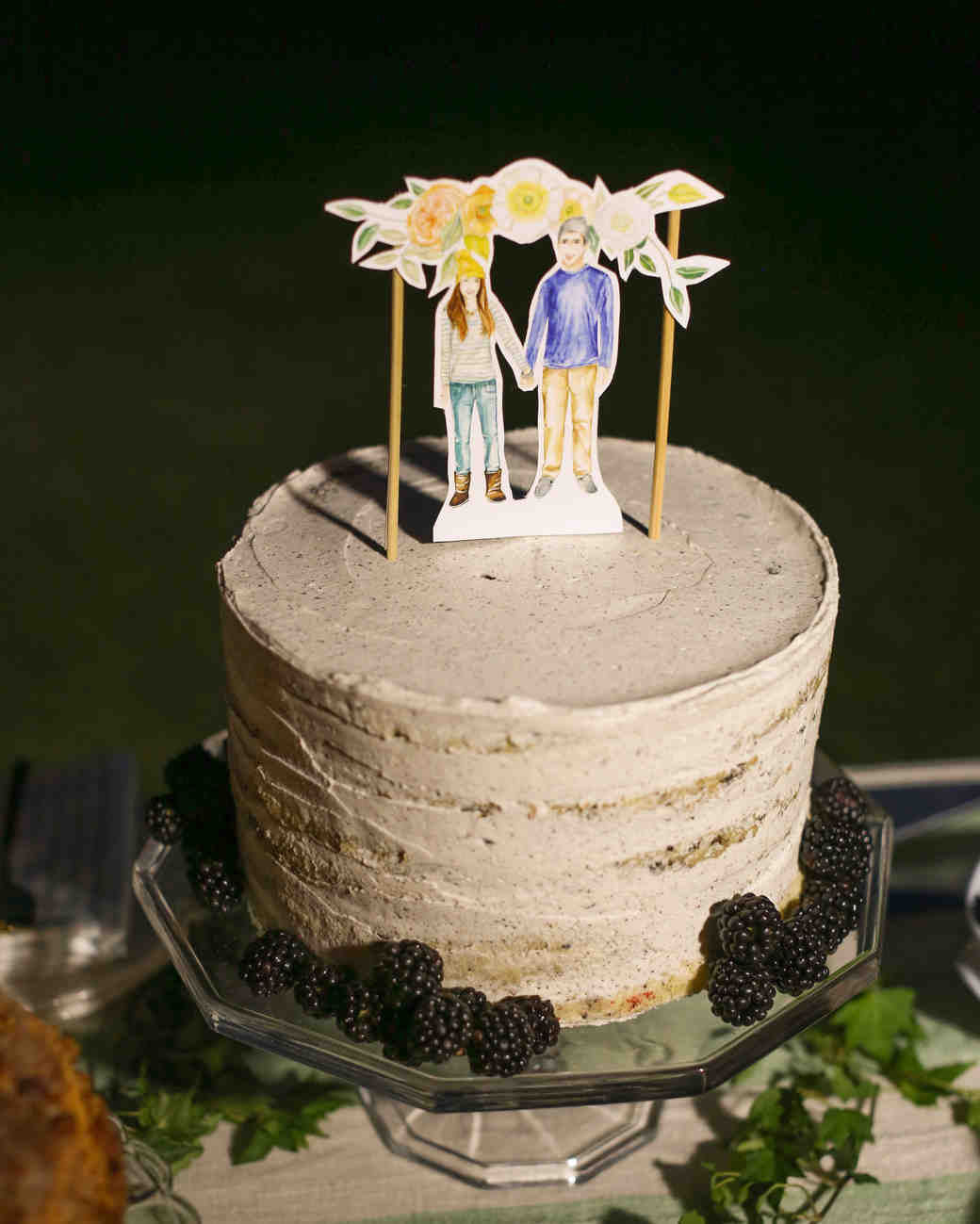 Small Wedding Cake With Paper Doll Topper