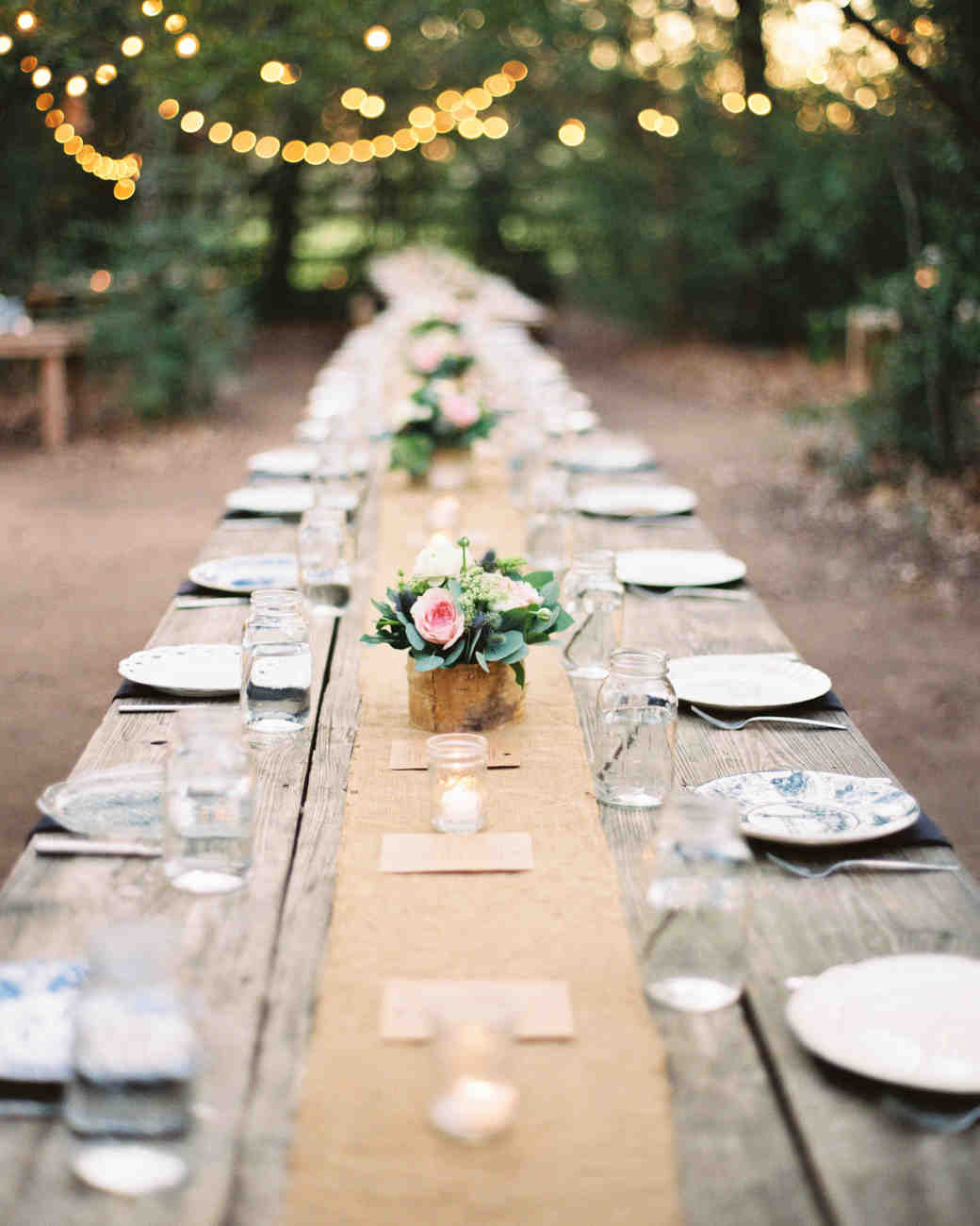 mason jar drinks table setting outdoors