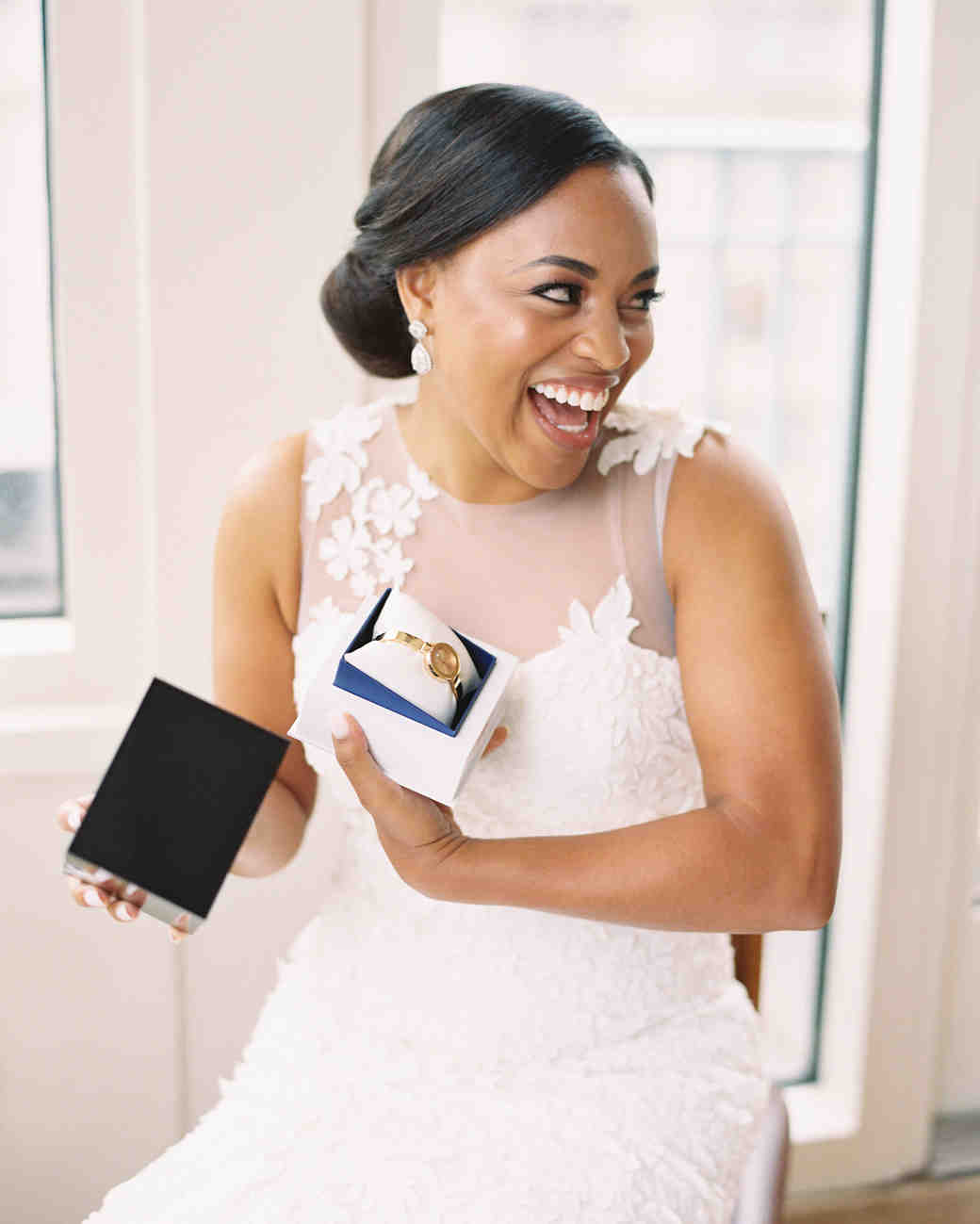 melissa justen wedding bride with watch gift