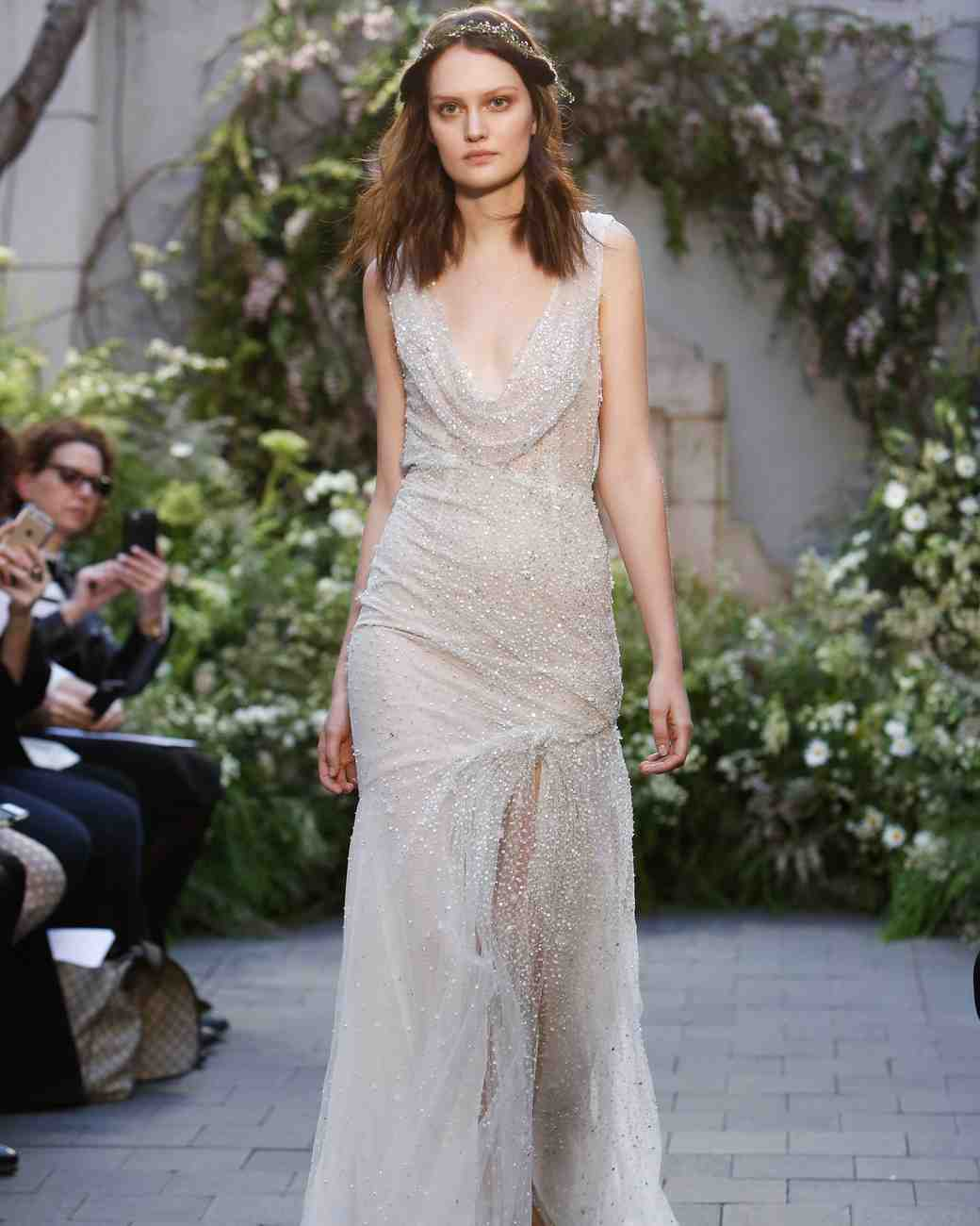 Monique Lhuillier sexy wedding gown