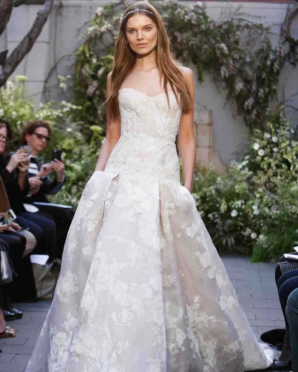 Drop-Waist Floral Wedding Gown with Pockets