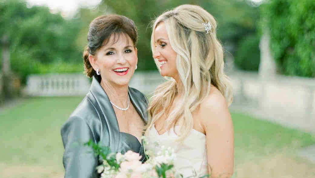 A Bride Laughing with Her Mom