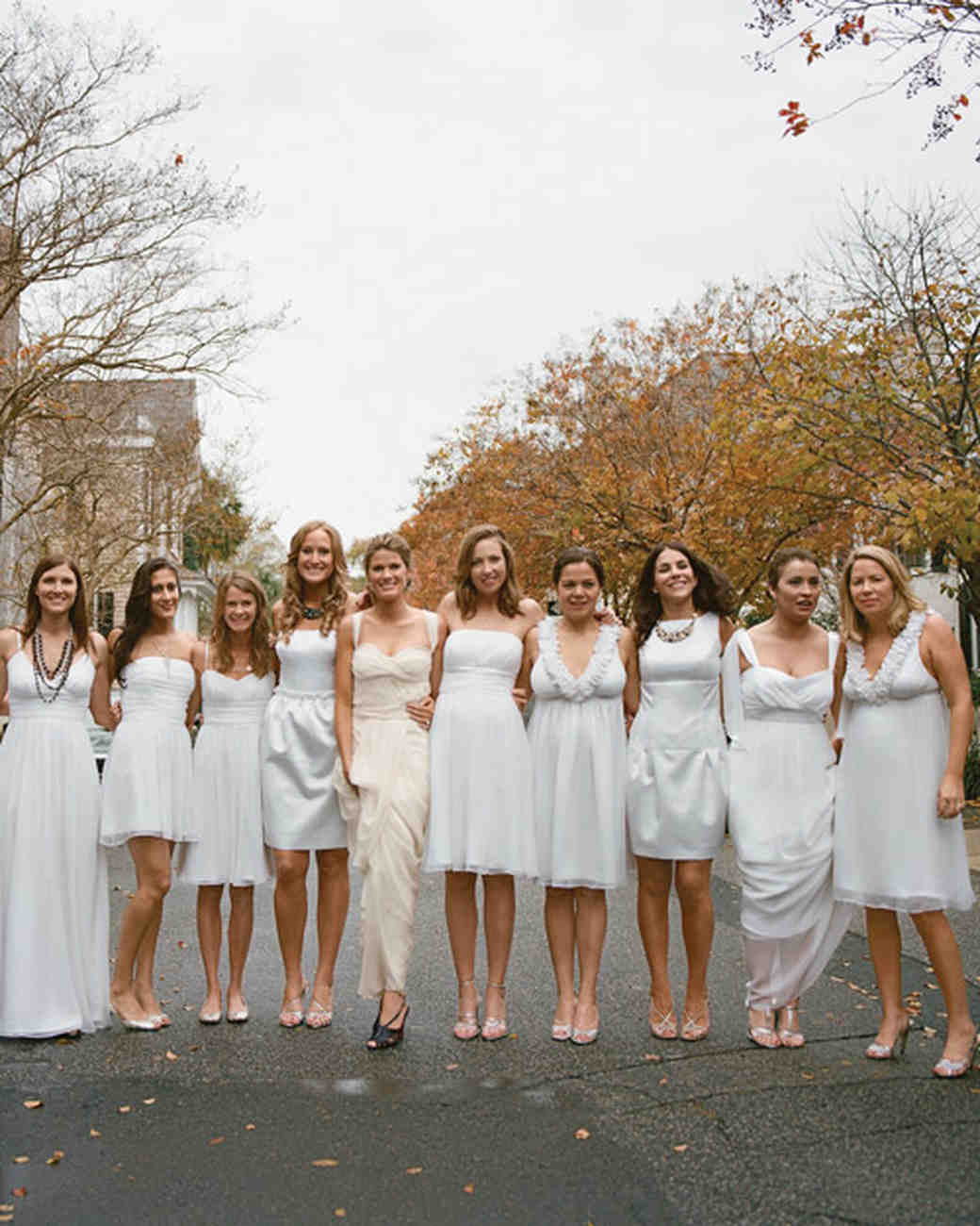 10 bridal parties wearing white at real weddings martha stewart are white bridesmaids dresses okay ombrellifo Choice Image