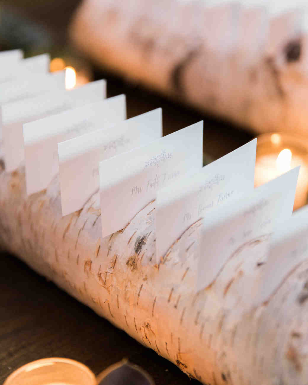 birch log escort card